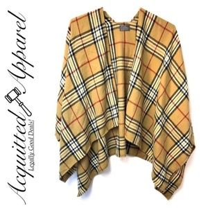 Plaid Checked Brown Beige Poncho Open Cardidgan